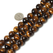 """12mm round faceted gemstone yellow tiger eye beads strand 15"""""""