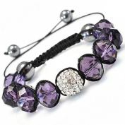 Shamballa Hip Hop Style Eight Amathyst Stone Beads, and 1 Crystal White Disco Ball