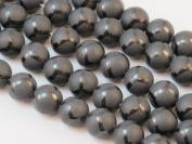 Matte Black Onyx Soccer-line Round Bead 12mm 15.5''