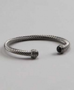 Silvertone Black Gem Bangle Bracelet