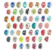 Phoenixs 100pcs Colourful Lot [PREMIUM HIGH QUALITY] Silver Lampwork Murano Glass European Mix Beads with SINGLE CORE - Compatible with Pandora, Chamilia, Troll, Biagi & other Styles of European Bracelets