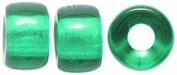 Preciosa Ornela Traditional Czech Glass Crow Roller 50-Piece Beads, 9mm, Transparent Dark Emerald
