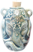 Peruvian Hand Crafted Ceramic Raku Glazed Ganesh Bottle Pendant