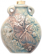Peruvian Hand Crafted Ceramic Raku Glazed Butterfly Bottle Pendant, 49mm