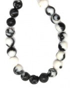 Bead Collection 40182 Semi Precious Zebra Stone Amber Round Beads, 20cm