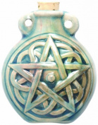 Peruvian Hand Crafted Ceramic Raku Glazed Pentagram Bottle Pendant, 49mm