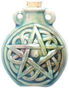 Peruvian Hand Crafted Ceramic Raku Glazed Pentagram Bottle Pendant, 49mm