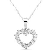 New 925 Sterling Silver Cut Out Heart Cz Pendant with 46cm Chain