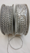 3mm Faux Pearl Plastic Beads on a String Craft Roll - Silver, Total 2 Rolls