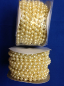 6mm Faux Pearl Plastic Beads on a String Craft Roll - Ivory (Light Yellow), Total 2 Rolls