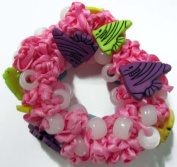 Hair Scrunchy UV Colour Changing! Pink with Angel Fishes!