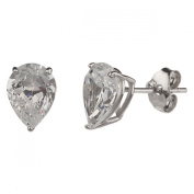 New 925 Sterling Silver Cz Pear Cut Stud Earrings-8mm