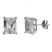 New 925 Sterling Silver Cz Rectangle Cut Stud Earrings-9mm
