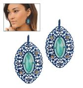 Blue Openwork Earrings By Avon