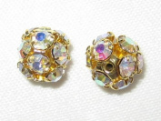 8 8mm. Rhinestone Filigree Balls Gold/Clear AB - B804