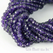 "1 Strand Amethyst Micro Faceted Rondel 3-4mm 14"" Length Aaamazing Quality 100 Percent Natural.(rlaa-70002)GemMartUsa Gemstone"