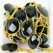 One Foot Wholesale Beautiful Black Onyx Gold Vermeil Bezel connectors with 24k gold Plated Chain