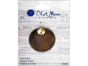 Blue Moon Beads ZP-001-00100 Round Shell Pendant with Metal Hope Accent, Gold