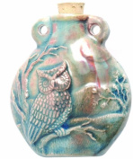 Peruvian Hand Crafted Ceramic Raku Glazed Owl Bottle Pendant, 49mm