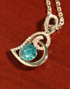 Sparkling Crystal Heart Necklace - baby blue colour by Ottavo