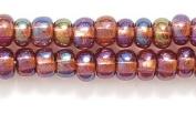 Preciosa Ornela Czech Seed Bead, Copper Lined Light Amethyst Aurora Borealis Finish, Size 6/0