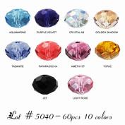 Wholesale Lot 60 pcs. Rondelles Crystal Beads 6mm #5040. 10 colours (#1).