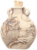 Peruvian Hand Crafted Ceramic High Fire Owl Bottle Pendant, 49mm