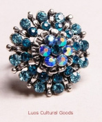 Luos Beautiful Silver Metal Ring with Blue Gems - Sr004