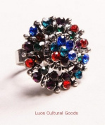 Luos Beautiful Colourful Silver Metal Ring - Sr003