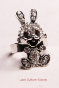 Luos Beautiful lucky Rabbit Silver Metal Ring with Clear Gems - Sr014