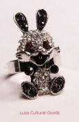 Luos Beautiful Lucky Rabbit Silver Metal Ring with Black Gems- Sr012