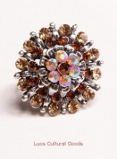 Luos Beautiful Silver Metal Ring with Gold Gems - Sr005