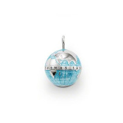 Globe Pendant with Eyelet Blue-enamelled the Classical Globe in a Small Version