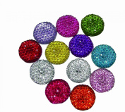 Etc Ribbons and More 24-Piece 16mm Clear Round Bead Stone, Assorted Colours