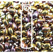 Metallic Gold Violet 3x5.5mm Long Drop Miyuki Japanese Glass Seed Beads 25 Gramme Tube