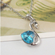 Sliver Plated-925 Sterling Silver Crystal Lovely Bling Blue Swan Necklace / Chain--(With Cutely Gift Box)-----. From USA--takes 2-6 working days with shelley.kz INC-------