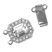 Rhodium Plated 2-Strand Box Clasp With. ELEMENTS 22x12mm
