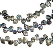 Black Peacock Cornflake Freshwater Pearl Side Drilled Strand 38cm Small