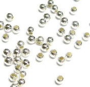 100 pcs .925 Italian Sterling Silver Seamless Round Spacer Beads 3mm / Findings / Bright