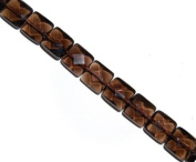 Smoky quartz faceted squarel gemstone beads, 14x14mm, sold per 16-inch strand..
