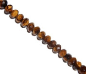 Brown tiger eye faceted rondelle gemstone beads, 10x6mm, sold per 16-inch strand.