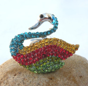 Fabulous Fashion Stretch Rings-Gorgeous Rainbow Swan Design w/Rhinestones Around ,Elegant and Attractive,One Size Fits All (3cm x 3.5cm) A Great Gift For Your Friends or Loved Ones.Put On a Touch Of Unexpected Whimsy Whenever You Wear This Too-Cute Cri ..