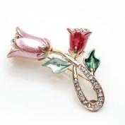 Ladies Pin /Brooch Ornament-Gorgeous Flowers Design Gold Metallic w/Rhinestone,Elegant Design 2.5cm W x 3.8cm H Super Saving w/ .  d !