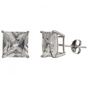 New 925 Sterling Silver Cz Square Princess Cut Stud Earrings-10mm