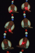 Cowboy Boots Blinky Blinking Rodeo Mardi Gras Beads New Orleans