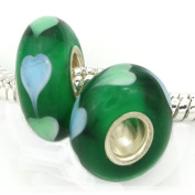Add A Link Of Charm Green Lovers Delight Handmade Lampwork Bead