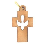 Cross with Dove Cross - olive wood necklace