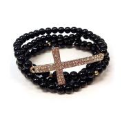 4 Layer Beads & Cross Stretchable Bracelet - BLACK