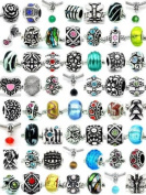 (20 Beads Mix) Pack of Assorted Silver Charms, Crystal Bead Charms, Murano Glass Beads and Spacers for European Style Bracelets. Fits Pandora, Biagi, Troll, Chamilla and Many Others