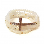 4 Layer Beads & Cross Stretchable Bracelet - IVORY